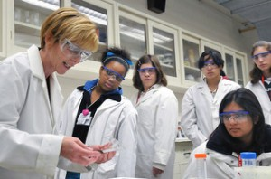 girls in a lab